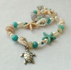 Sea Turtle Anklet Starfish Sea Shells. $18.00, via Etsy.