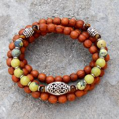 108 bead wood and yellow jasper wrap bracelet or necklace by #lovepray #jewelry