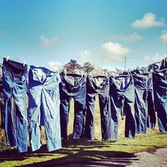The start of the bag making journey - a washing line full of jeans, ready to be recycled into beautiful Sallyann Bags Handmade Handbags, Handmade Bags, Bag Making, Recycling, Journey, Jeans, Instagram Posts, Crafts, Beautiful