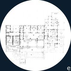Jorn Utzon. Can Feliz. Plan. 1. entrance, 2. entry, 3. court, 4. work room, 5. living room, 6. kitchen, 7. dining room, 8. covered terrace, 9. bedroom, 10. terrace, 11. swimming pool.
