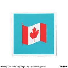 Waving Canadian Flag Napkins Standard Cocktail Napkin