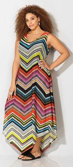 Plus Size Chevron Dress