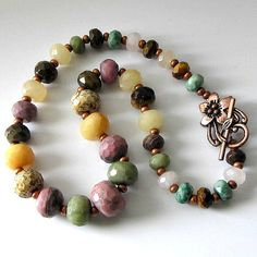 Mixed gemstone beaded necklace graduated by PacificJewelryDesign, $70.00
