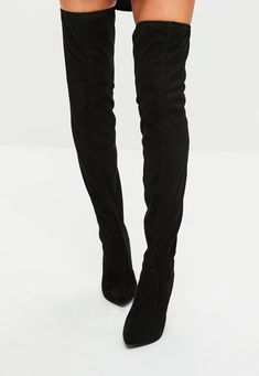 Black thigh high boots are a fashionable way to keep warm in the winter! We have the best over the knee boot outfits from suede, leather, lace up and more!