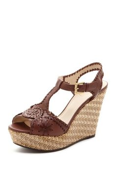 """Salinger Wedge Sandal in coffee by Jack Rogers $240 - $129 at HauteLook. - T-strap vamp - Ankle strap with buckle closure - Wrapped trim detail - Espadrille and metallic cork wedge - Lightly cushioned footbed - Approx. 4.5"""" heel, 1.5"""" platform rialsLeather upper, rubber sole"""