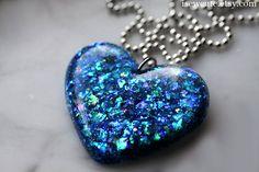 Jewelry  Resin  Glitter Heart Necklace Opal Blue Heart by isewcute on etsy #resin #jewelry #isewcute