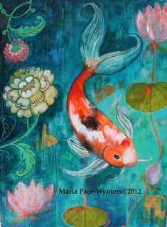 Koi In The Flower Garden- Original mixed media painting by Maria Pace-Wynters