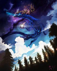 """ysurio: """"AURELION SOL, STAR FORGING SPACE DRAGON by 8-bitpunch """""""
