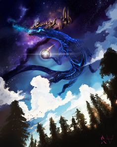 "ysurio: ""AURELION SOL, STAR FORGING SPACE DRAGON by 8-bitpunch """