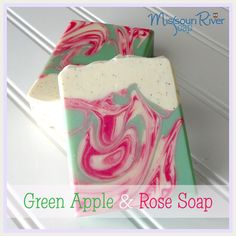 Missouri River Soap: Green Apple & Rose - swirl in a swirl method