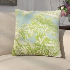 """Darby Home Co Chalgrave Toile Cotton Throw Pillow Color: Aqua Green, Size: 22"""" x 22"""""""