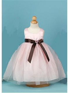 Lovely  Ball Gown Ankle-length Square Bowknot Flower Girl Dress