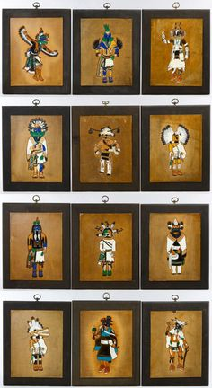 """Lot 215: Ray Briggs (American, 20th Century) Painted and Tooled Leather Kachina Collection; Twelve painted and tooled leather Kachina figures mounted onto wooden boards and signed """"Ray Briggs"""" in lower right"""