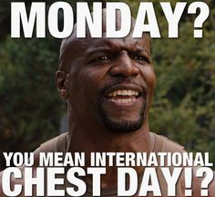 Monday - International Chest Day on Bodybuilding Motivation  http://www.bodybuildingmotivation.net/wp-content/gallery/bodybuilding-memes/monday-international-chest-day.jpg
