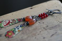 Floral Bohemian earrings Floral Recycled Tin Jewelry by Tribalis, $27.00