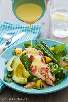 Lobster salad, inspired by the Montage Hotel in Laguna Beach. Crisp greens, grilled lobster tail, asparagus, mango, grapefruit, avocado and this incredible light and creamy citrus dressing. Not a lobster fan? Try it with shrimp.