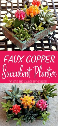 How to Make an Upcycled Faux Copper Succulent Planter | Where The Smiles Have Been.  Learn how to turn just about anything into faux copper with just a little paint!