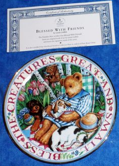 """Royal Doulton Franklin Mint """"BLESS THE CREATURES GREAT & SMALL"""" Teddy Bear Plate #RoyalDoulton"""
