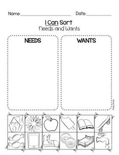 Needs and Wants- Parents will love you for this one