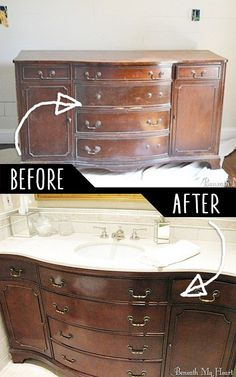 DIY Furniture Hacks |  Dresser into A Vanity  | Cool Ideas for Creative Do It Yourself Furniture Made From Things You Might Not Expect - http://diyjoy.com/diy-furniture-hacks
