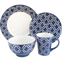 This distinctive dinnerware set will set your table apart from the rest with its pattern and color. It is made from dishwasher safe stoneware and serves up to four people.