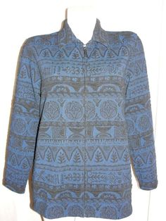 CHICO'S DESIGN Blue Black Textured Long Sleeve Zip Front Jacket Travel Size 2 L #Chicos #BasicJacket #Business