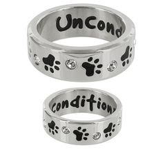 $19.95 - Paw Print & Crystal Unconditional Love Ring