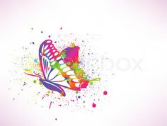 Rainbow ink butterfly on white background. Vector