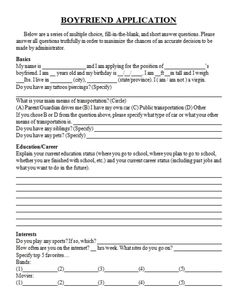 Open Call: The Official Boyfriend Application form | Boyfriend ...