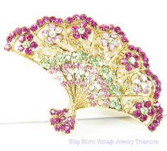 Pastel Rhinestone Fan Pin Pendant. New today in my ebay store.