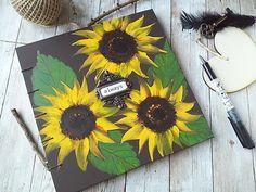 Sunflower Guestbook. Sunflower Journal. Custom Guestbooks.