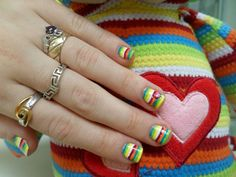 Rainbow striped nails inspired by my stuffed monkey!