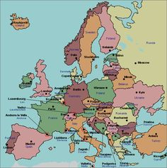map of europe with capitals for kids - Google Search   geography for ...