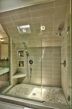 Elegant Sisseehitatud Duššinurgad Douche Italienne Sous Pente, Douche Moderne,  Inspiration Salle De Bain, Cabine