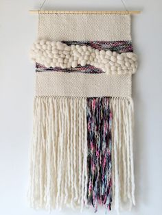 Rainbow & Cream Wool Wall Weaving by SecretWoolSociety on Etsy