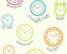 Modern Clock Kitchen Wallpaper Multi coloured on white background