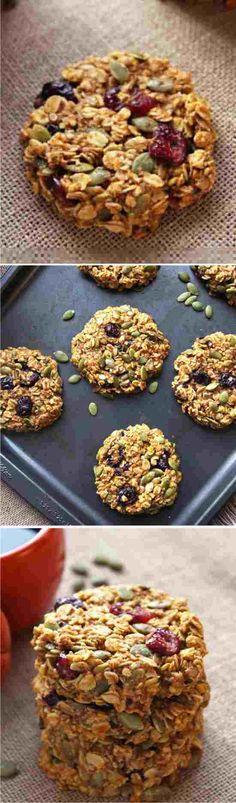 PUMPKIN BREAKFAST COOKIES - baked, beaten, breakfast, coconut oil, cookies, dessert, honey, oats, pie, pumpkin, recipes, roll