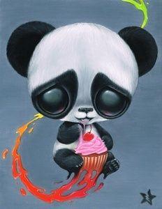 Sugar Fueled Panda Cupcake Rainbow Paint Splash Series Lowbrow Pop Surrealism Cute Big Eyes Art Print