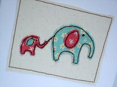 Elephant Card Cute Machine Embroidered Elephants by Nikelcards