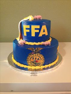 blue and gold birthday cake - but with the Extension LOGO and stuff that represents what extension does...