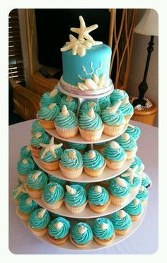Ideas wedding cakes beach cupcakes bridal shower for 2019 Beach Cupcakes, Yummy Cupcakes, Wedding Cupcakes, Birthday Cupcakes, Seashell Cupcakes, Wedding Sweets, Ocean Theme Cupcakes, Beach Cake Birthday, Little Mermaid Cupcakes
