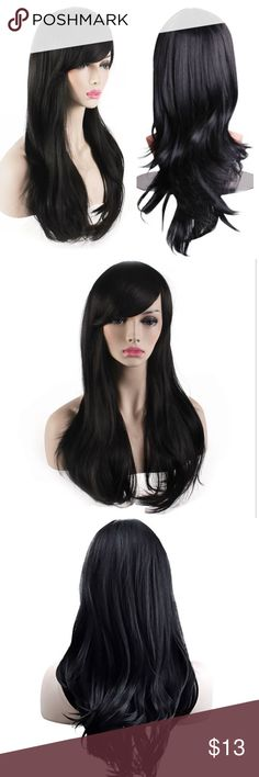 Wavy Black Hair Wig Pretty black hair wig with long side swept bangs. Soft and natural looking hair, and size is adjustable. Comes with wig cap. Never worn! Accessories Hair Accessories