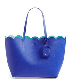 Kate Spade, blue scalloped leather tote