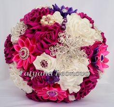 Fabric Wedding Bouquet Brooch bouquet Scarlet  Ivory by LIKKO