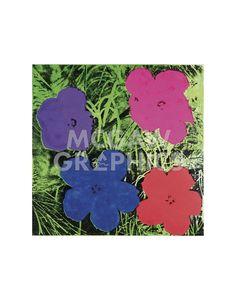 Flowers, c. 1964 (1 purple, 1 blue, 1 pink, 1 red)