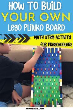 Lego Math, Lego Craft, Kindergarten Math Activities, School Age Activities, Lego Activities, Lego For Kids, Stem For Kids, Lego Coding, Plinko Board