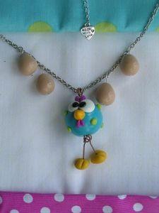 bird polymer clay pendant by www.boutonsbobines.com