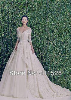 2014 Vneck three quarter sleeve lace Aline zuhair murad wedding dress custom made elegant bridal gown