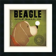 'Beagle Golf Ball Co.' by Stephen Fowler Framed Graphic Art