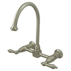 Kingston Brass KS1298AL Heritage Wall Mount Kitchen Faucet, 8 Spread, Satin Nickel